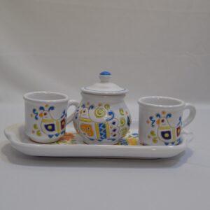 Servizio Caffè Comprendente Vassoio 2 Tazzine E Zuccheriera Ceramiche Loddo