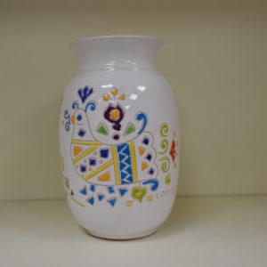 Vaso In Ceramica Con Decoro Pavoncella H 20