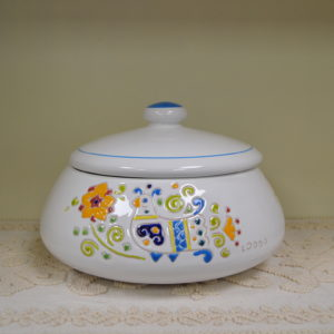 Biscottiera In Ceramica Con Decoro Pavoncella
