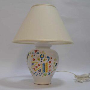 Lampada In Ceramica Da Tavolo Con Decoro Pavoncella H 41