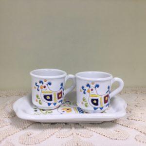 Servizio Caffè Comprendente Vassoio 2 Tazzine Con Decoro Pavoncella
