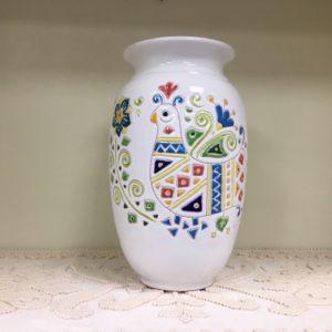 Vaso In Ceramica Con Decoro Pavoncella H 25