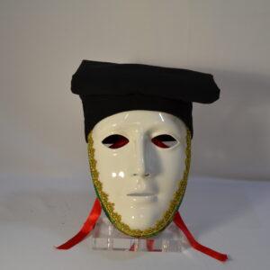 Maschera Sartiglia Bianca Con Broccato Verde E Berrita Nera