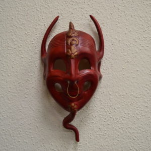 Maschera Ghignante Rossa In Pelle