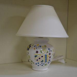 Lampada In Ceramica Da Tavolo Con Decoro Pavoncella H 30