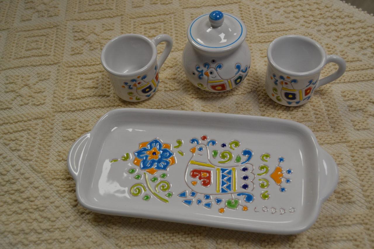 Servizio caffè comprendente vassoio 2 tazzine e zuccheriera