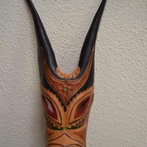 Maschera Boes Di Ottana Dipinta In Pelle