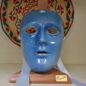 Maschera Sartiglia In Ceramica Azzurra