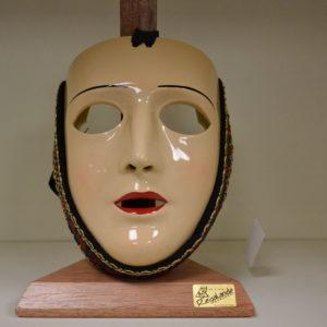 Maschera Sartiglia  Truccata  In Resina Con Fascia In Broccato