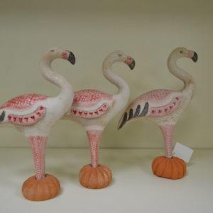 Tris Fenicotteri Rosa In Ceramica