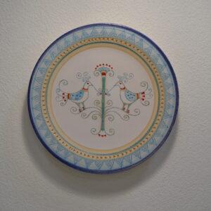 Piatto In Ceramica Con Decoro Pavoncella