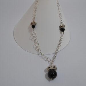 Collana In Filigrana D'argento Con Ciondoli A Forma Di Gufo Con Su Coccu