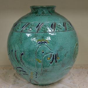 Vaso In Ceramica Artistica Sarda Con Decoro Gallinella