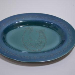 Piatto Ovale In Ceramica Con Decoro Pavoncella