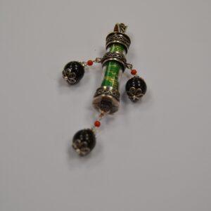 Ciondolo Amuleto In Argento Con Su Coccu, Corallo E Broccato