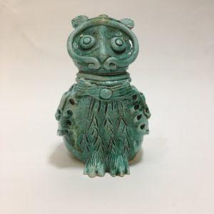 Gufo In Ceramica Verde Acqua Marina
