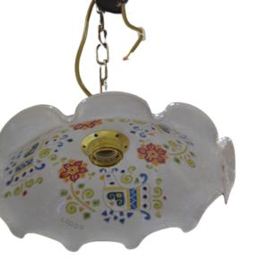Lampadario In Ceramica Con Tre Pavoncelle
