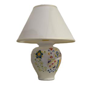 Lampada In Ceramica Da Tavolo Con Decoro Pavoncella