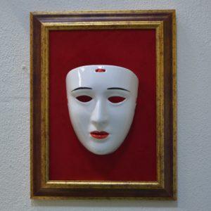 Maschera Sartiglia Montata Su Quadro In Velluto Rosso