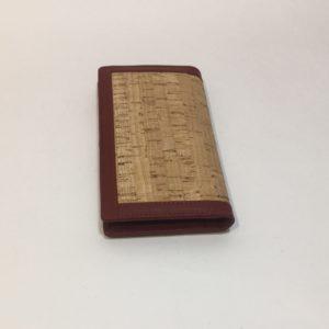 Portacarte In Sughero Con Inserti In Pelle Rossi