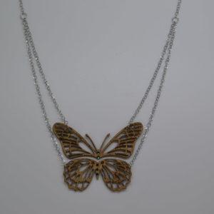 Collana In Sughero Doppio Pendente Farfalla