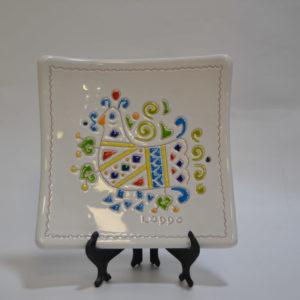 Centrotavola In Ceramica Con Decoro Pavoncella