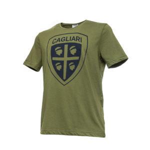 T-shirt  Cagliari Verde Militare  In Cotone Con Stampa Logo Frontale Oro