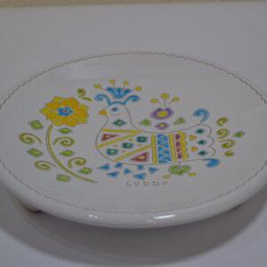 Vassoio In Ceramica Con Decoro Pavoncella