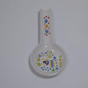 Poggiamestolo In Ceramica Con Decoro Pavoncella