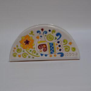 Portatovaglioli In Ceramica Con Decoro Pavoncella