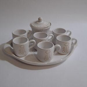 Vassoio Con 6 Tazzine Da Caffè E Zuccheriera