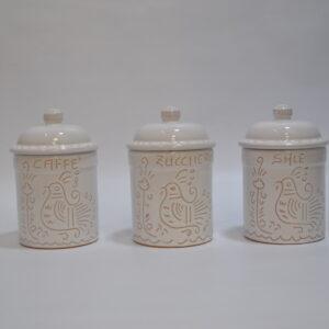 Tris Di Barattoli In Ceramica Per Sale, Zucchero E Caffè