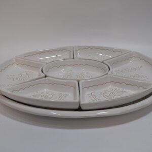 Antipastiera In Ceramica Con Decoro Pavoncella