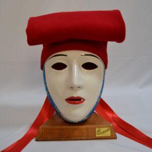 Maschera Sartiglia Bianca  Truccata Con Broccato Azzurro E Berrita Rossa