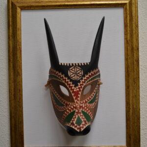 Maschera Boes Di Ottana Dipinta Montata Su Quadro