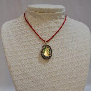 Ciondolo Amuleto In Argento E Broccato