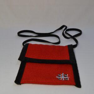Borsina A Tracolla In Orbace Rosso Con Simbolo Quattro Mori
