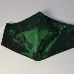 Mascherina In Broccato Sardo Verde Cangiante
