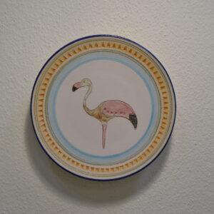 Piatto In Ceramica Con Decoro Fenicottero