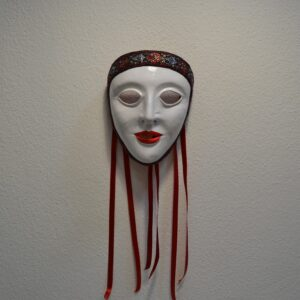 Maschera Della Sartiglia Bianca In Pelle Con Broccato