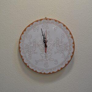 Orologio Da Parete In Ceramica Con Decoro Pavoncella Di Farci