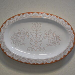 Piatto Ovale In Ceramica Con Decoro Pavoncella Di Farci Andrea