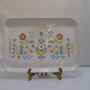 Vassoio In Ceramica Con Decoro Pavoncella Ceramiche Loddo