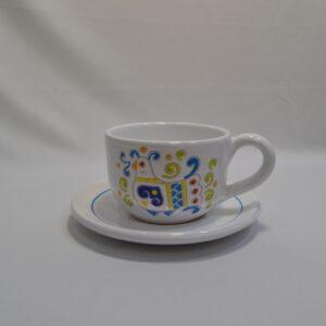 Tazza Con Piattino In Ceramica Con Decoro Pavoncella Ceramiche Loddo