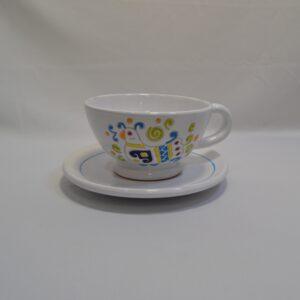 Tazza Da The Con Piattino In Ceramica Con Decoro Pavoncella Ceramiche Loddo