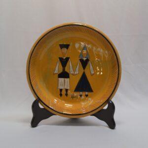 Piatto In Ceramica Con Decoro Con Coppia In Costume Sardo Manis