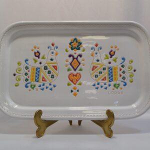 Centrotavola Vassoio/piatto In Ceramica Con Decoro Pavoncella Ceramiche Loddo