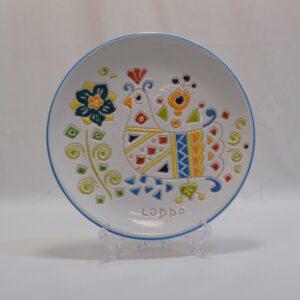 Piatto In Ceramica Con Decoro Pavoncella Ceramiche Loddo