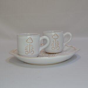 Vassoio Con Due Tazzine Da Caffè In Ceramica Con Incisione Gallinella Di Artis