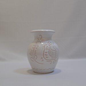 Vaso In Ceramica Con Incisione Gallinella Di Artis